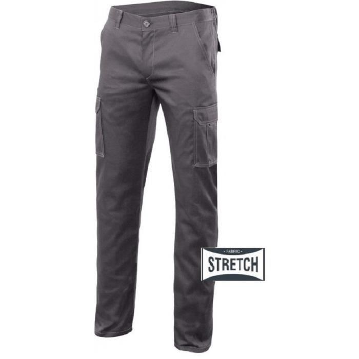 Pantalon de travail stretch gris, coupe ajustée près du corps