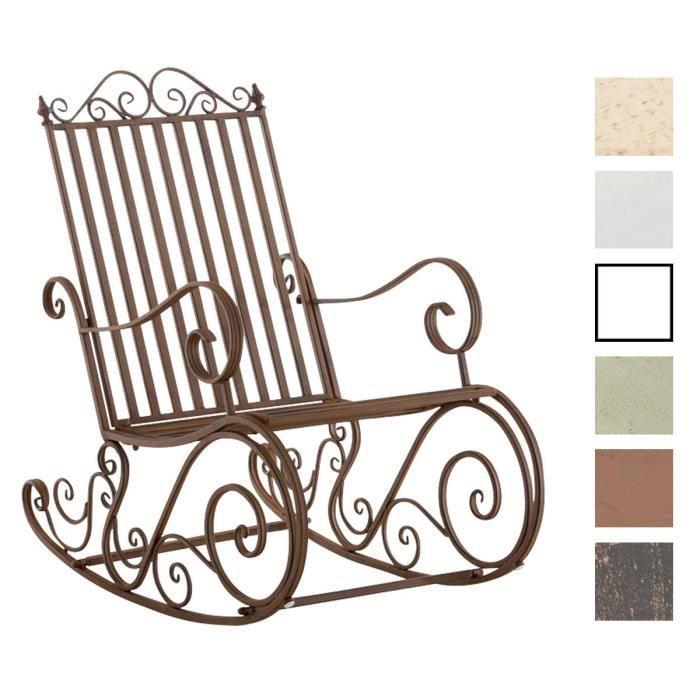 CLP Fauteuil Bascule en Fer Forgé SMILLA, Chaise de Jardin, Style Bascule avec Dossier Haut et Accoudoirs, Hauteur Assise 33 cm,