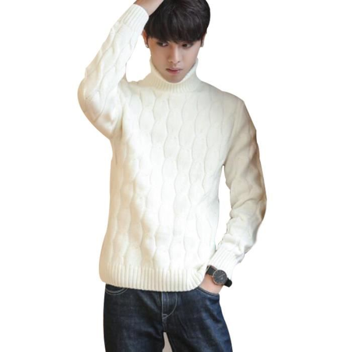 Pull col montant homme Pull Col roulé Pull automne et hiver Pull irlandais