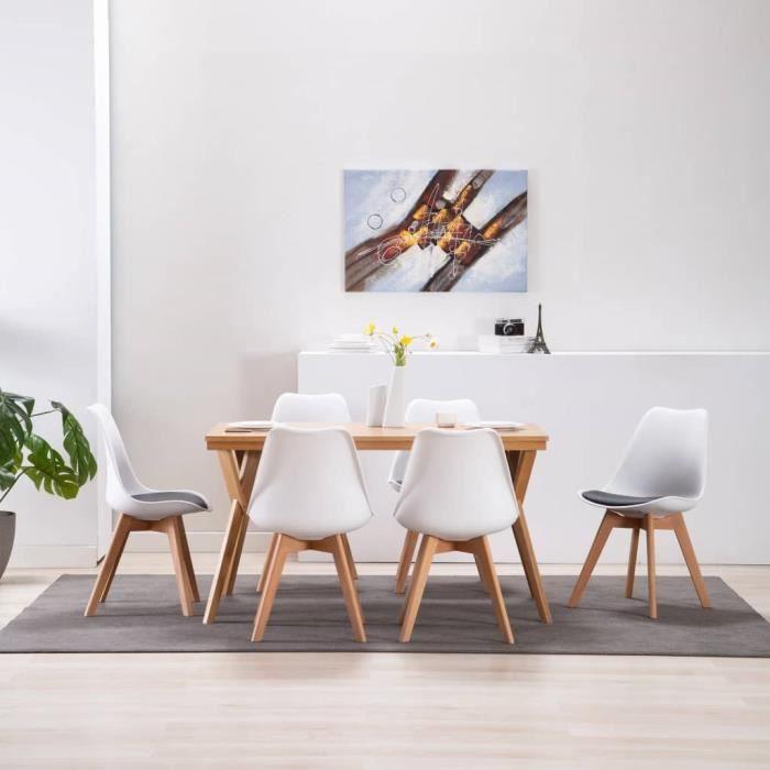 Chaise de salle à manger 6 pcs Blanc et noir