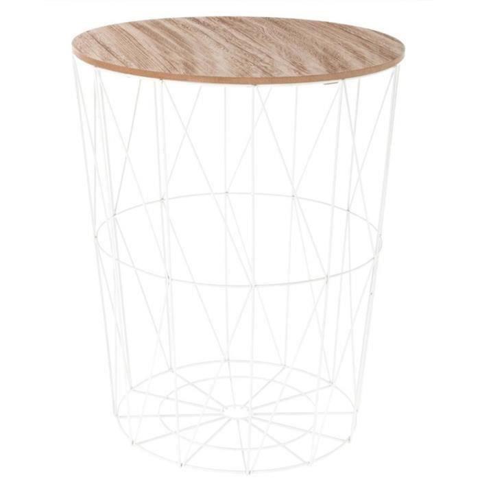 Table d'appoint design en MDF et acier, blanc - Dim : D.47 x H. 57 cm