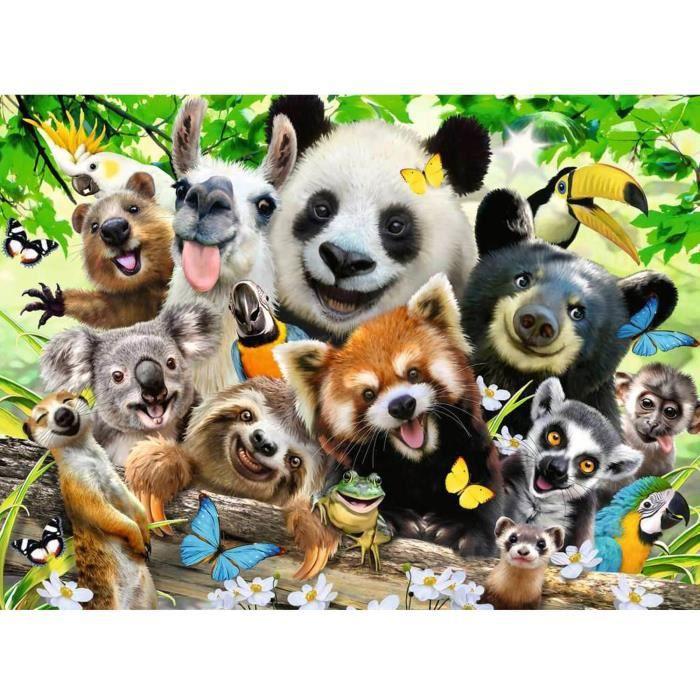 Puzzle 300 pièces XXL : Le selfie des animaux sauvages Coloris Unique