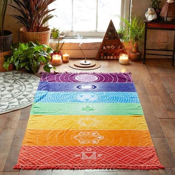 Tapis de Yoga Tapisserie Arc-en-Ciel 7 Chakra Stripes Serviette de Pge Eté Tenture Murale Manda Couvertur 75 * 150cm