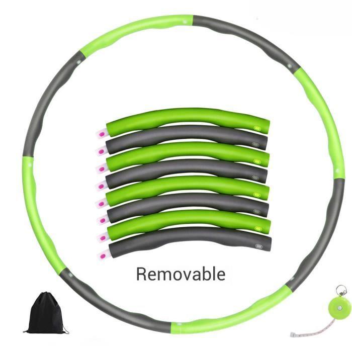Hula Hoop réglable avec pneus lestés en mousse souple avec 8 sections Pour gym à domicile -vert