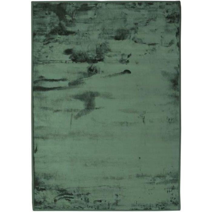 FLANELLE - Tapis extra-doux effet velours vert foncé 120x170