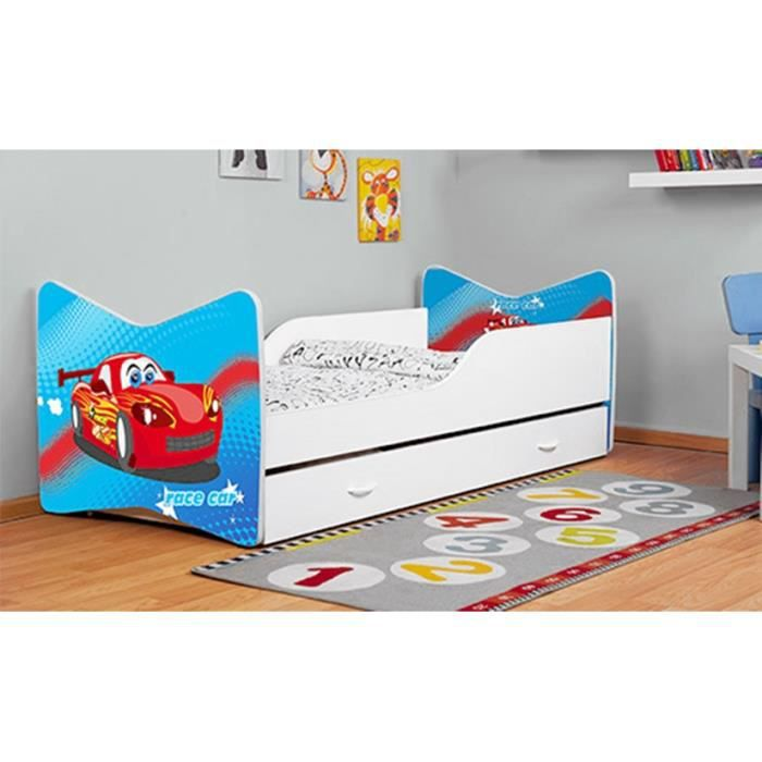 lit enfant voiture tiroir matelas 140x70 cm achat. Black Bedroom Furniture Sets. Home Design Ideas