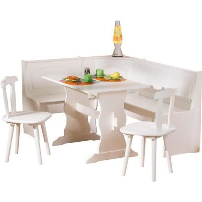Coin repas d 39 angle avec table et chaise en pin massif for Table et chaise en solde
