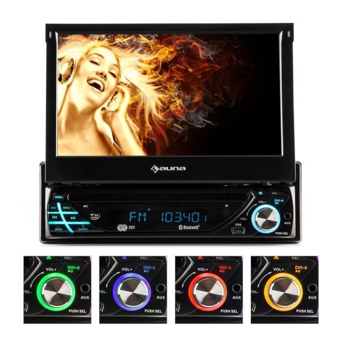 auna mvd 220 autoradio multimedia avec ecran retractable 18cm bluetooth lecteur dvd port. Black Bedroom Furniture Sets. Home Design Ideas