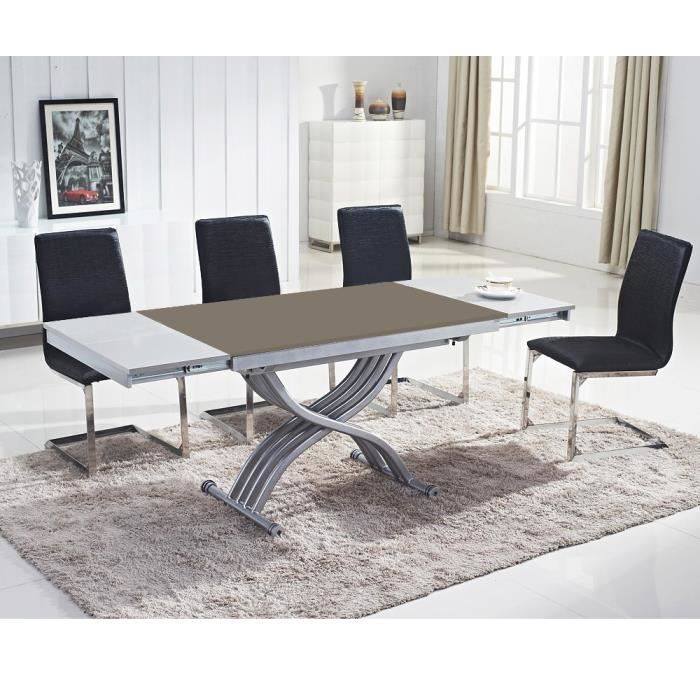 Table basse relevable reality verre taupe taupe achat - Table basse transformable en table haute ...