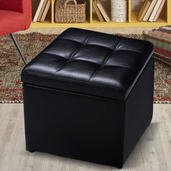 pouf de rangement grand stockage pouf ottomane en cuir synth tique pliage neuf achat vente. Black Bedroom Furniture Sets. Home Design Ideas