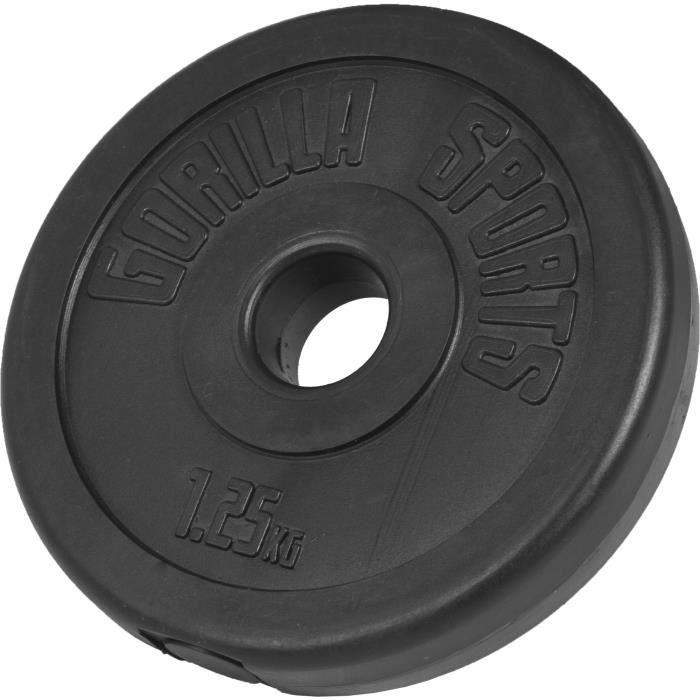 Gorilla Sports Disque en Plastique 1,25 kg de diam/ètre 26mm