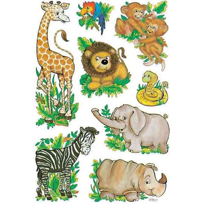 sticker decor animaux de la jungle achat vente stickers cdiscount. Black Bedroom Furniture Sets. Home Design Ideas