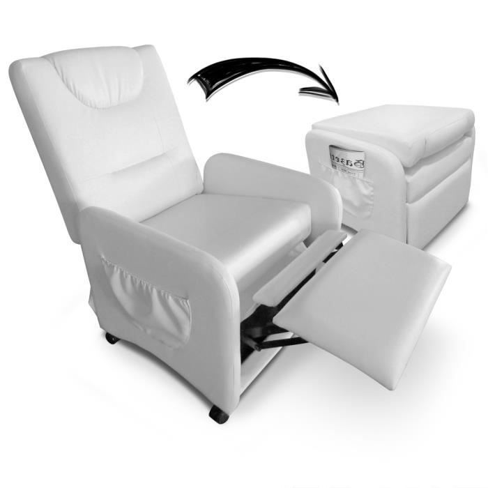 fauteuil relax pliable brio blanc achat vente fauteuil cdiscount. Black Bedroom Furniture Sets. Home Design Ideas
