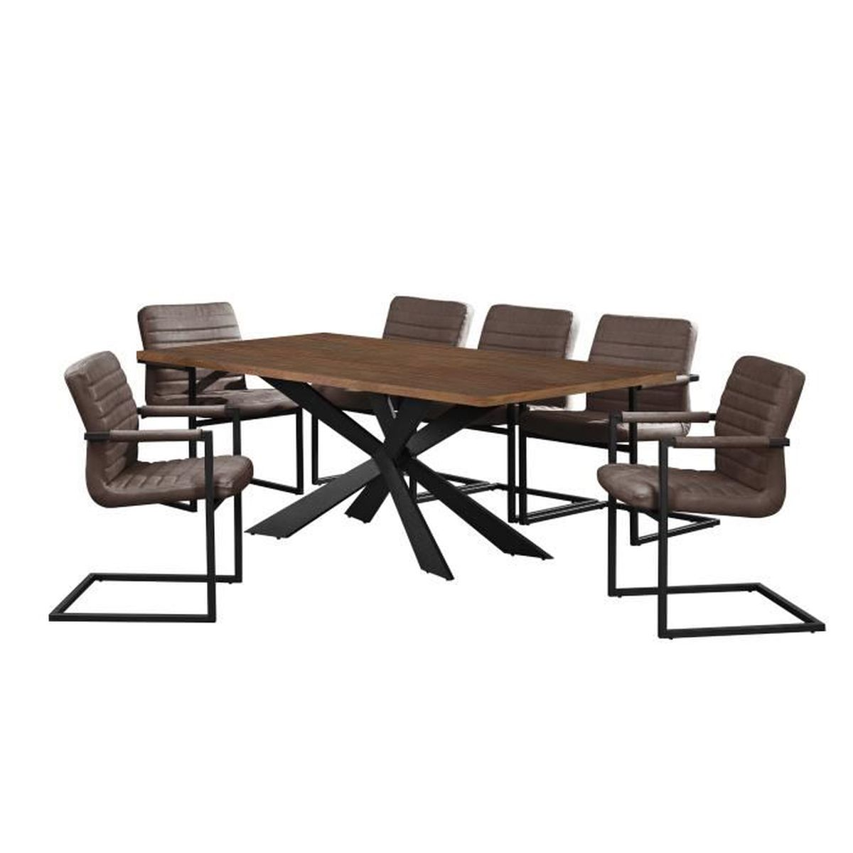 table de salle manger noix avec 6 chaises cantilever rembourr marron fonc 200x100cm. Black Bedroom Furniture Sets. Home Design Ideas