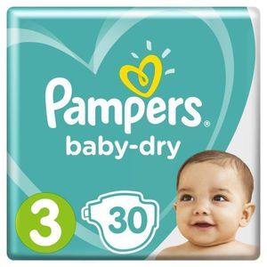 COUCHE Pampers Baby-Dry Taille 3, 6-10 kg - 30 Couches