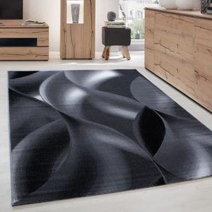 Tapis de salon design courte pile - Optique vague - Gris et ...