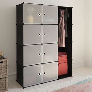 ARMOIRE DE CHAMBRE Cabinet penderie armoire modulable noir et blanc a