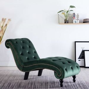 CHAISE Moderne Chaise longue Velours Vert