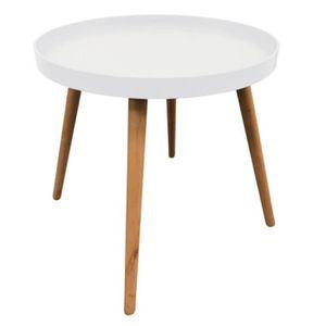 TABLE D'APPOINT Table guéridon avec plateau rond de couleur blanch