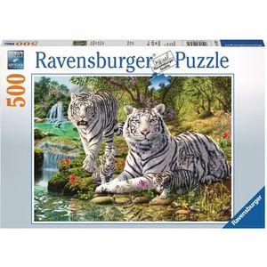 PUZZLE RAVENSBURGER Puzzle 500 p - Famille de tigres blan
