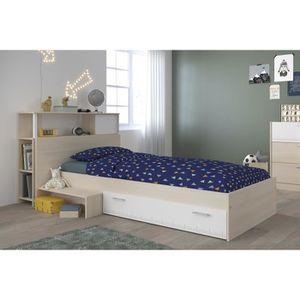 STRUCTURE DE LIT CHARLEMAGNE Ensemble lit + tête de lit avec rangem