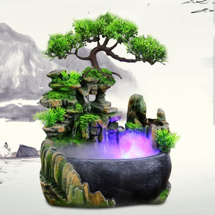 Fontaine de bureau en cascade avec changement de couleur Led éclairage Zen méditation cascade-XIU