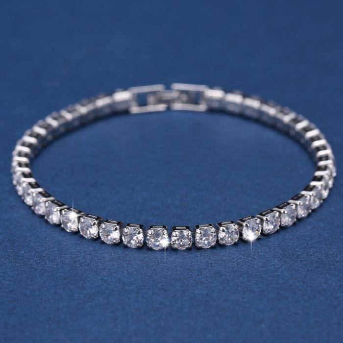 FESTIVUS Bracelet de tennis plaqué or blanc 14 carats coupe ronde 5 zircons cubiques 7 pouces pour hommes et femmes