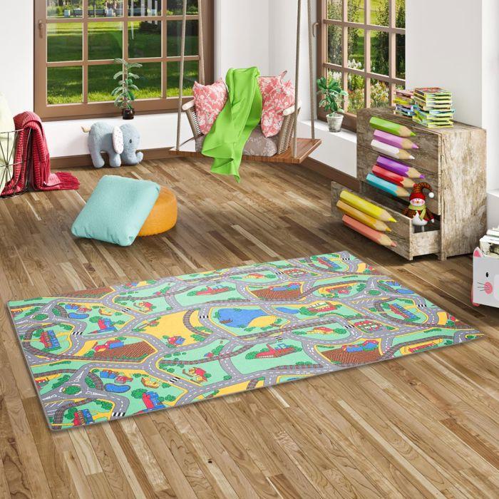 Tapis de jeu pour enfant - Tapis de rue vert motif de rue - 17 tailles disponibles [100x100 cm]