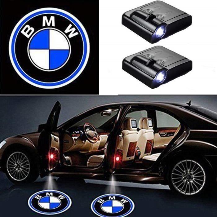2 Pcs Porte De Voiture Sans Fil Led Bienvenue Laser Projecteur Logo Lumière Lampe Fantôme Ombre Lumière Logos (BMW) -