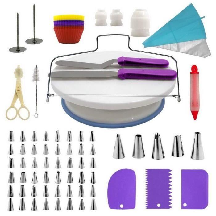 Kit de décoration de gâteaux 106 pièce-ensemble Plateau tournant pour gâteaux Tube de pâtisserie outil de - Type 106pcs purple