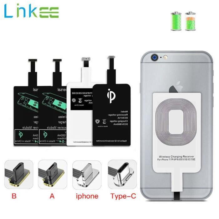 Chargeurs,Support De Chargement Sans Fil Qi Récepteur Pour Micro USB Type C iPhone 6 7 Plus Rapide Universel - Type For Type A