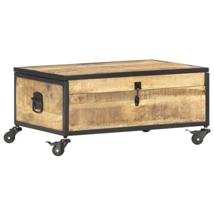 Table basse 70x50x33 cm Bois de manguier massif Avec 1 porte relevable et 4 roulettes