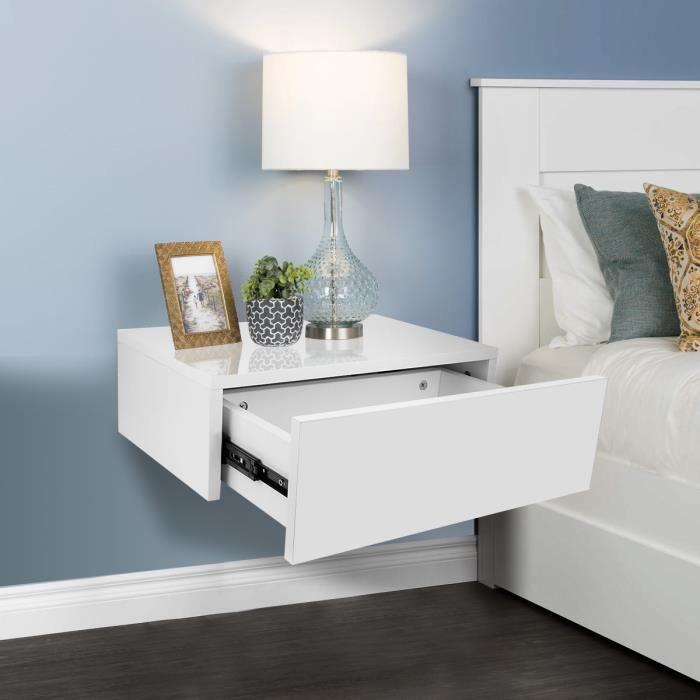 Table de chevet mural - couleur blanc - 30x46x15cm
