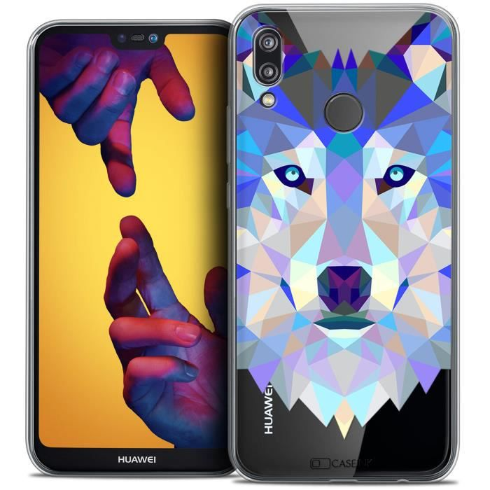 Coque Gel Huawei P20 LITE (5.84 ) Extra Fine Polygon Animals - Loup