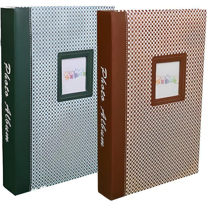 Lot de 2 Albums photo à pochettes -Elements- pour 300 photos 10x15 par album - Vert et Brun