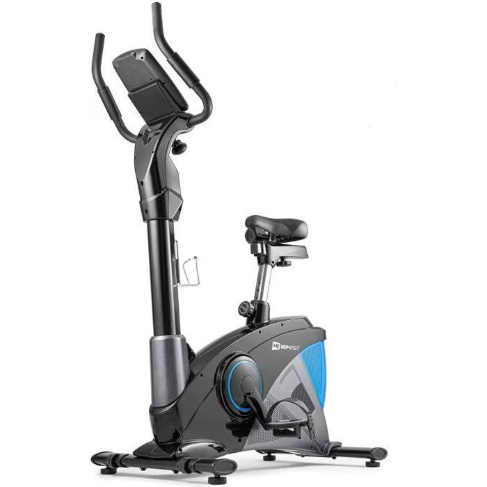 Hop-Sport Vélo d'appartement Ergomètre Apollo HS-090H BLEU Smartphone Contrôle de résistance sur 32 Niveaux Masse d'inertie 13 kg