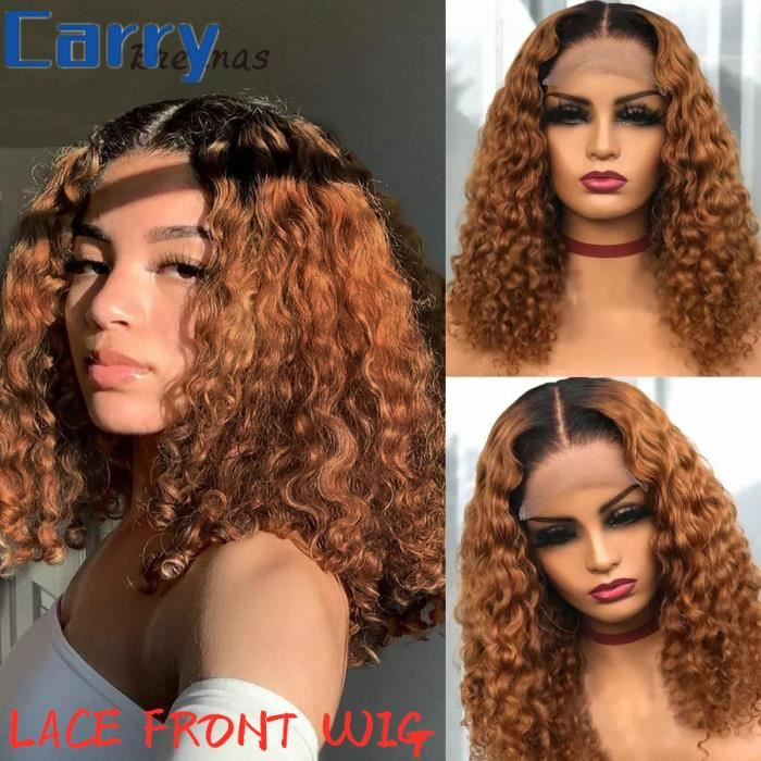10'' Ombre Perruque Bouclée Profonde 13*4 Dentelle Frontale Perruque Brésilienne Cheveux Humains