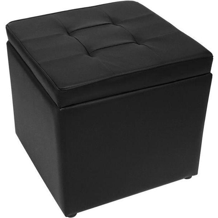 JEOBEST® Pouf Coffre de Rangement - Tabouret Cube de Repose-pieds - 40x40x40 cm - Simili Cuir, Noir