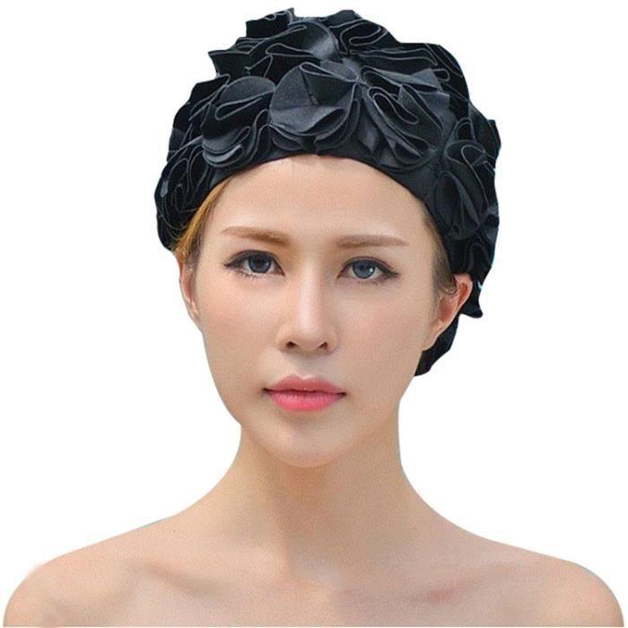 Bonnet de bain pour piscine Femme bonnets natation démêlant en décoration de fleurs confortable et élastique waterproof Noir