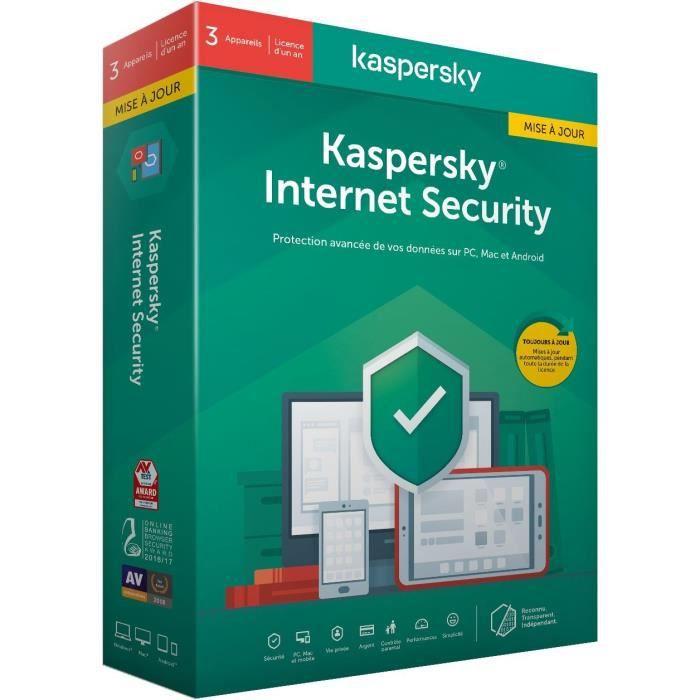 Kaspersky Internet Security 2020 Mise à jour, 3 postes, 1 an