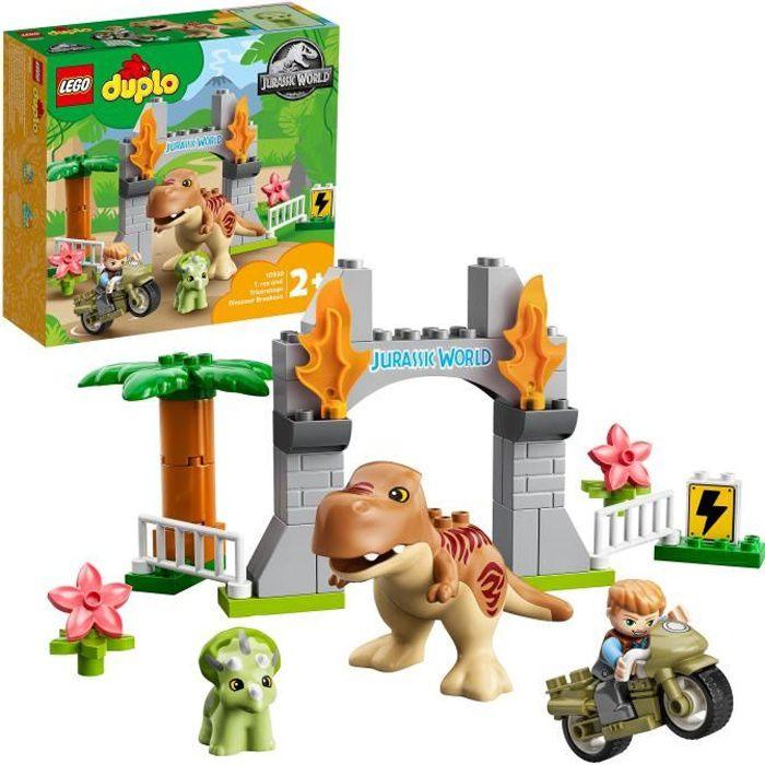 LEGO® 10939 DUPLO® L'évasion du T. rex et du Tricératops Jouet pour Enfants 2 ans et plus, avec Moto