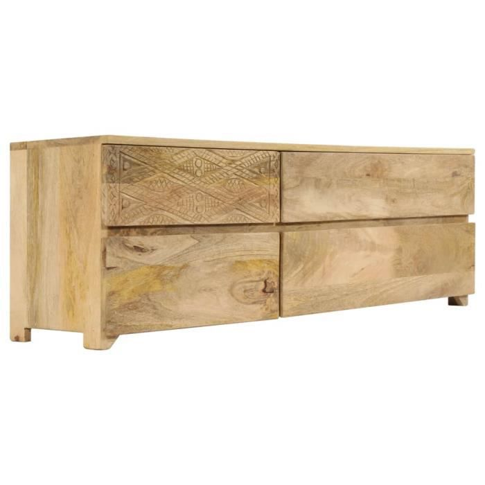 Meuble TV scandinave contemporain Bois massif de manguier 120 x 30 x 40 cm