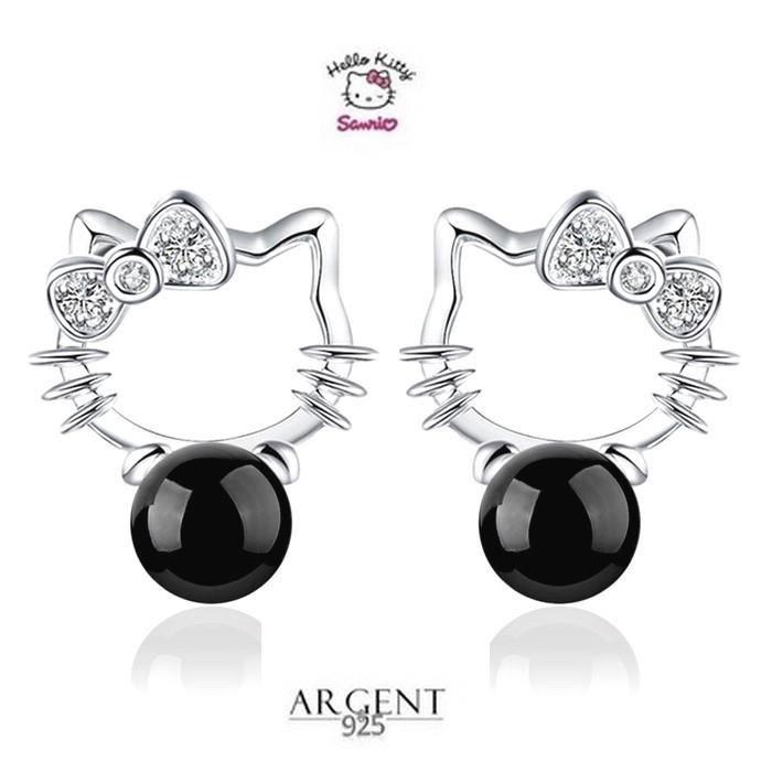 Boucles D'oreille Puces Hello Kitty Perle Argent 925
