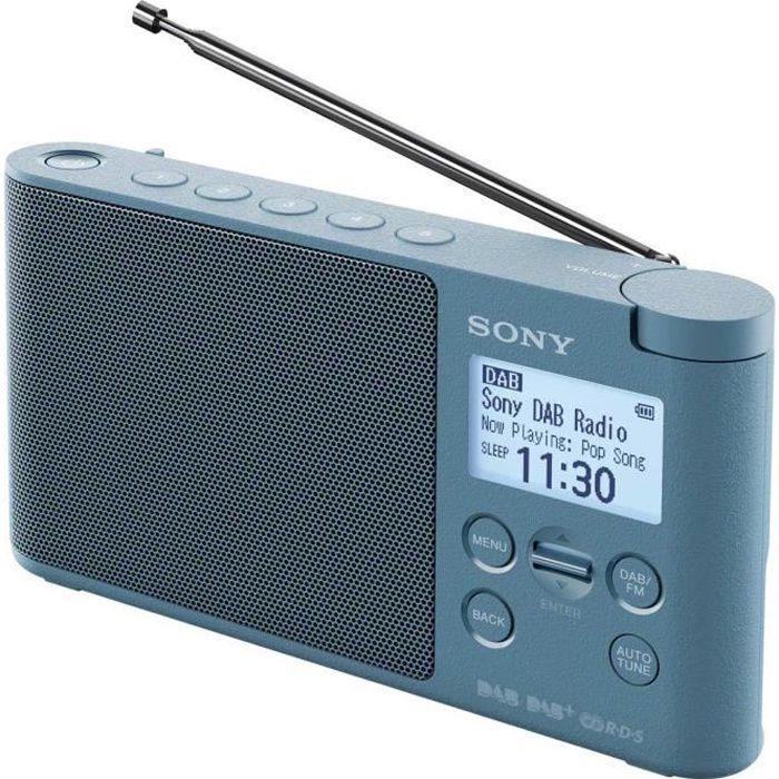 SONY - XDRS41 - Radio portable DAB/DAB+ - Préréglages directs - Réveil et mise en veille programmable - Bleu