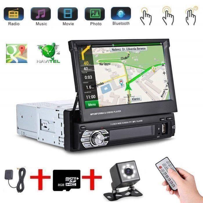 7- Autoradio GPS Bluetooth Navigation Voiture Stéréo Lecteur MP5 Contrôle de l'écran Tactile+Caméra de Recul+8GB SD A1