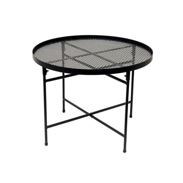 Table basse ajourée en métal Diane - Diam. 50 x H. 35 cm - Noir