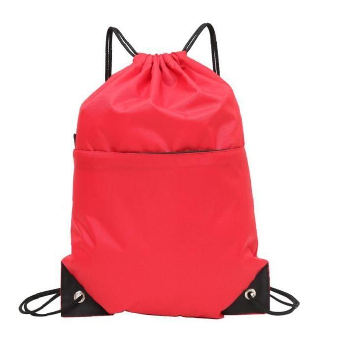 1pc Drawstring Backpack Sac à bandoulière en nylon imperméable pour le sport Yoga Voyage Randonnée (Rouge)
