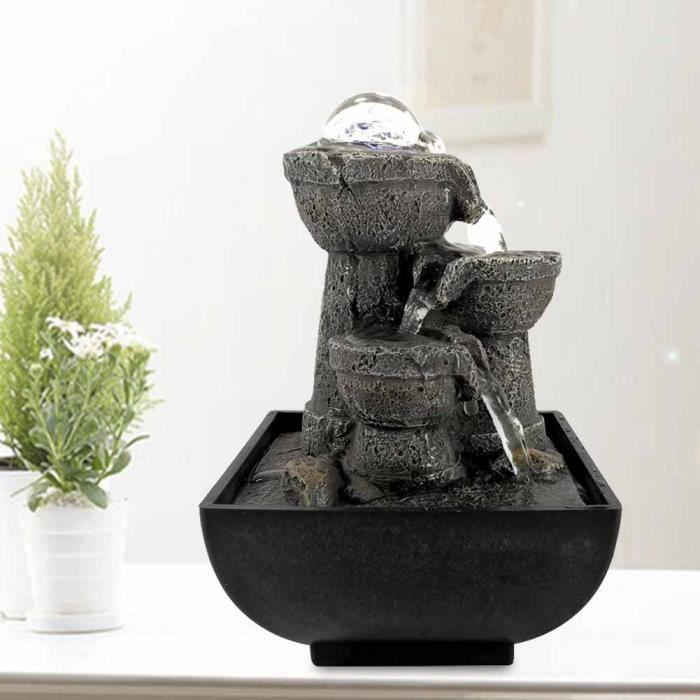 Fontaine d'Eau Coule de Cascade de Table Illuminée LED avec Balle pour Décor Feng Shui (EU 220V) -CHD