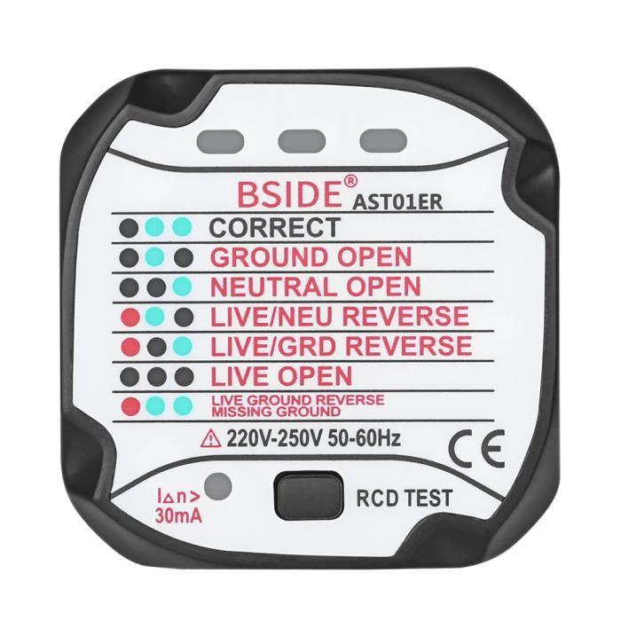 Testeur de prise /électrique automatique prise de courant testeur de polarit/é Carreaux M/ètre Neutre en direct de terre les tests avec prise anglaise