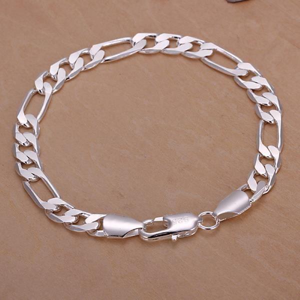 Fashion 925 Sterling Argent Massif Bijoux Cœur Chaîne Bracelet Pour Femmes H273
